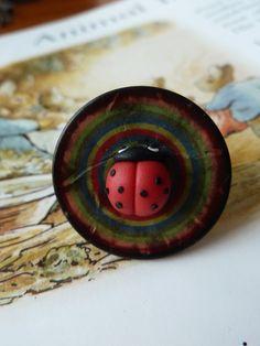 Ladybird button ring £6.00