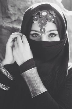 The Black Abaya covers the hair, and veils the face. This is a customary practice in the Middle East that is said to protect upper class women from male glances