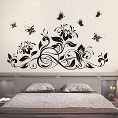 Grande vinyle coin de vigne Floral Vinyle wall stickers décorations murales Autocollant NEW