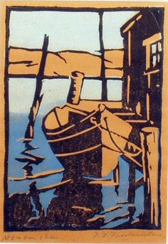 "✨ Frank Forrest Frederick - ""Mememsha"", small boat tied up at dockside; Mememsha is on Martha's Vineyard, Massachusetts. Color woodblock print, signed lower right, 5 3/8"" X 4"""