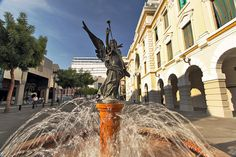Fountain Amidst Government Buildings in Downtown Guayaquil, Ecuador