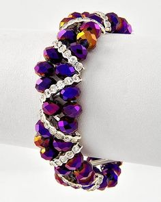 Volcano Glass Crystal Bracelet  This is a simple stringing project.  I'm just crazy for those purple beads - think I may have seen them at Michaels...