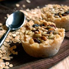 ---Freezer Friendly: Homemade Oatmeal Pucks--- 6.5 cups water  4 cups rolled oats  1 pinch salt  2 tbsp butter  ¼ cup brown sugar  ¼ cup maple syrup (the good stuff)  Raisins, dried fruit, seeds, or nuts for topping.