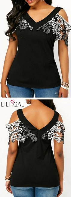 Lace Patchwork V Neck Cold Shoulder T Shirt   #liligal #top #blouse #shirts #tshirt Cold Shoulder Tops, Cold Shoulder Blouse, Diy Fashion, Fashion Outfits, Womens Fashion, Clothes Crafts, Sexy Dresses, Refashion, Hot Outfits