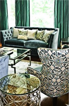Enjoying the emerald green in this living room by Caryn Grossman, ASID