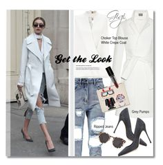"""Get the Look - Choker Top & White Coat"" by watereverysunday ❤ liked on Polyvore featuring Maiyet, Miss Selfridge, Sergio Rossi, Karl Lagerfeld, Smashbox, Illesteva, women's clothing, women, female and woman"