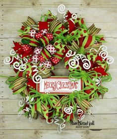 This Whimsical Merry Christmas Deco Mesh Holiday Wreath Will Add A Playful Sense Of Celebration To Your Front Door Or Entryway And Is Sure