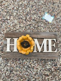 Home Sunflower Reclaimed Wood Sign with choice of Metal Yellow Sunflower or Burlap Sunflower, Hand Crafted Wooden Pallet, Home Decor Pallet Home Decor, Pallet Crafts, Pallet Projects, Wood Crafts, Cross Wall Art, Wall Crosses, Reclaimed Wood Wall Art, Yellow Sunflower, Wooden Pallets