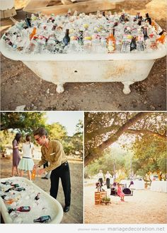Idee originale mariage au jardin. baignore vintage pour les boissons