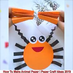 Creative ideas about paper crafts. Paper Crafts For Kids, Arts And Crafts, Creative Video, Kids Learning Activities, Diy Origami, Animal Crafts, 5 Minute Crafts, Floral, Handmade