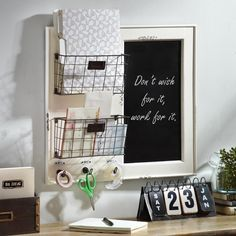 From memos to keys, from mail to important documents, there's a place for everything in our Chalkboard and Baskets Wall Organizer. This wall organizer ensures that you will never miss a beat while adding style to your office!