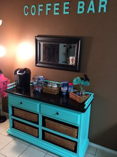 We turned an old dresser into a coffee bar for our daughter