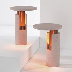Davidpompa pairs pink volcanic rock and copper for Ambra lamp range