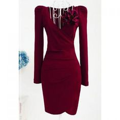 Vintage V-Neck Ruched Long Sleeve Solid Color Bodycon Dress For Women, WINE RED, XL in Vintage Dresses | DressLily.com