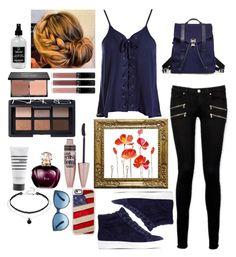 """""""Outfit #66 Don't Forget Your Make-Up!"""" by racce0400 on Polyvore featuring Sans Souci, Paige Denim, Sam Edelman, Maybelline, blacklUp, Pirette, NARS Cosmetics, Little Barn Apothecary, Proenza Schouler and Casetify"""