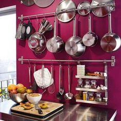 Smart Kitchen Storage Ideas for Small Spaces.I want this color! this is what my kitchen will look like! Kitchen Rails, Clever Kitchen Storage, Smart Kitchen, Kitchen Organization, New Kitchen, Kitchen Decor, Smart Storage, Purple Kitchen, Kitchen Ideas