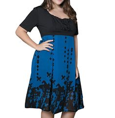 Sweetly Womens Short Sleeve Splicing Slim Fit Plus Size Sundress Blue L >>> Check this awesome product by going to the link at the image-affiliate link. #SweatersForWomen