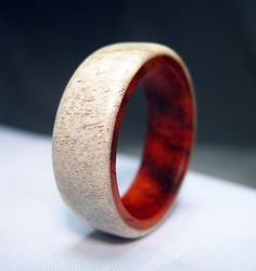 Caribou Antler Ring Lined with Padauk Wood by Endeavours on Etsy, $95.00