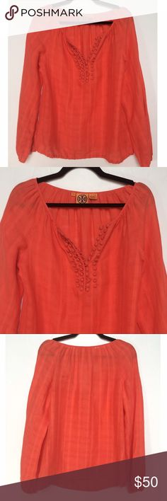Tory Burch Tunic Top Gorgeous!!  Beautiful red/orange Linen Pullover. Cute button detail on bodice and gathering at wrists. Great condition!  No flaws. Size 6 or S/M. No trades. Tory Burch Tops Blouses