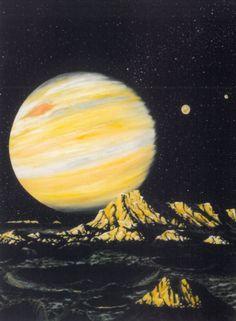"""More paintings of #Jupiter. Art by Kazuaki Iwasaki, Steve R Dodd, Michael Carroll, Kim Poor"""