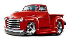 Vintage Trucks Chevy Truck Cartoon Wall Decal Garage Graphics by Fatcat Man Cave Art 1952 Chevy Truck, Vintage Chevy Trucks, Classic Chevy Trucks, Old Trucks, Pickup Trucks, Classic Cars, Dually Trucks, Diesel Trucks, Rat Fink