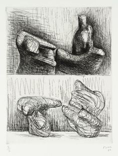 Henry Moore OM, CH 'Two Piece Reclining Figures: Points', 1969 © The Henry Moore Foundation, All Rights Reserved, DACS 2014 (Etching on paper). Abstract Sculpture, Sculpture Art, Metal Sculptures, Bronze Sculpture, Action Painting, Figure Painting, Drawing Sketches, Art Drawings, Drawing Style