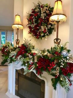 Christmas Wreath and Garland.Most Luxurious Holiday Decor Set with 96 cordless light each with timer Christmas Wreath and Garland.Most Luxurious Holiday Decor Set Christmas Swags, Cheap Christmas, Christmas Mantels, White Christmas, Christmas Home, Christmas Holidays, Christmas Crafts, Christmas Villages, Victorian Christmas