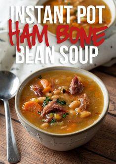 Ham Bone Bean Soup, Ham Soup, Crock Pot Soup, Soup With Ham Bone, Ham Bone Recipes, Yummy Recipes, Simple Recipes, Bean Soup Recipes, Diet