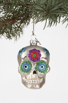 NEED should probably get a bunch just for Dia De Los Muertos tree #Skull Ornament #urbanoutfitters