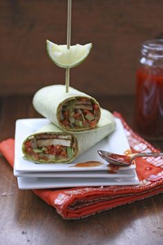 Thai Tofu-Vegetable Wraps  | Save and organize your favourite recipes on your iPhone and iPad with @RecipeTin! Find out more www.recipetinapp.com #recipes #vegan #wraps