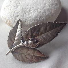Vintage Silver Danish Rose Leaf Brooch