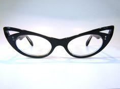 50's Xtreme Pointy French Cat Eye Eyeglass Frames Eyeglasses in Black