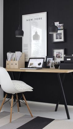 Black and white home office of our dreams...