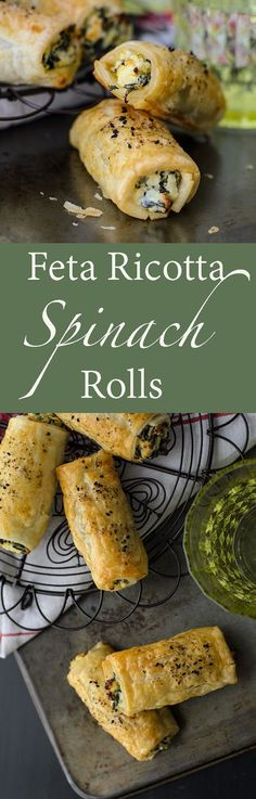 Feta Ricotta Spinach Rolls recipe with & to& Video. Easy to bake Feta Ricotta Spinach Rolls. Its a hearty vegetarian meal. Spinach Rolls, Spinach And Feta, Spinach Bread, Vegetarian Recipes, Cooking Recipes, Vegetarian Appetizers, Mince Recipes, Australian Food, Tasty