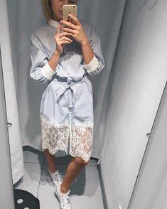 Blue stripe shirt dress with lace Diy Dress, Dress Skirt, Shirt Dress, Fashion 2017, Fashion Dresses, Womens Fashion, Modest Dresses, Blue Dresses, Outfit Vestidos