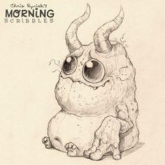 Morning Scribbles ... Ihr Leute, ich denke, ich bin vielleicht süchtig nach Monster zu zeichnen.