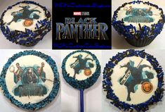 Marvel's Black Panther Cupcake & Cookie Images! Black Panther Party, Black Panther Marvel, 11th Birthday, Birthday Parties, Birthday Ideas, Cookie Images, Cupcake Cookies, Event Planning, Cake Toppers