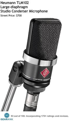 Neumann TLM102. This is a Large-diaphragm condenser microphone with cardioid directional characteristics and is one of the highest rated Studio Vocal Mics available.