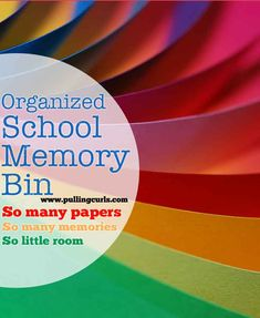 How to Declutter: Kids papers -- this post shows how I use my school memory bin to only keep a certain amount of papers each year, and also keep them organized. #pullingcurls