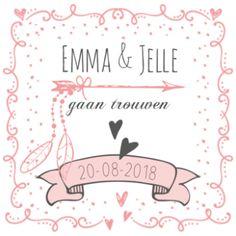 Trouwkaart zalm decoratief met pijl en veren.  #trouwkaartje #huwelijkskaart #huwelijksuitnodiging #zalm #zalmroze #wit #vaandel #banier #pijl #veertjes #veren