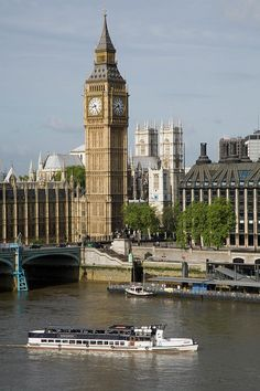 Big Ben and the Thames River, London, England