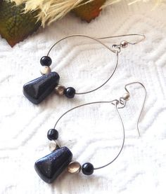 NWOT One of a Kind Sterling Silver and Blue Goldstone Earrings #Handmade #DropDangle