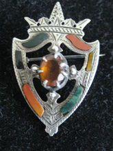 Victorian Scottish Silver Shield Brooch w/Red and Green Jasper