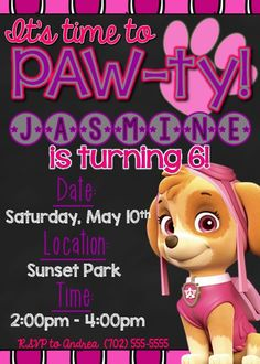 Thank you for visiting Precious Party Prints! This listing is for a 5x7 digital invitation featuring Skye from Nick Jr.s popular TV show Paw Patrol. Please note that this is a DIGITAL file and NO PHYSICAL ITEMS WILL BE MAILED TO YOU. You have the option to print this invitation at home, send it out to a print shop, or simply e-mail it to your guests! <---------------------------- How to Purchase ------------------------------>   Add the invitation to your cart and add the following…
