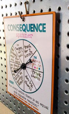 consequence spinner by fisherkids on Etsy We were so bad at coming up with spur-of-the-moment consequences for the Parenting Advice, Kids And Parenting, Chore Chart Kids, Family Chore Charts, Weekly Chore Charts, Toddler Reward Chart, Chore List, Printable Chore Chart, Kids Routine Chart