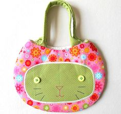 Cat Face Purse for Girls in Pink and Green by HandmadeByEvaRose