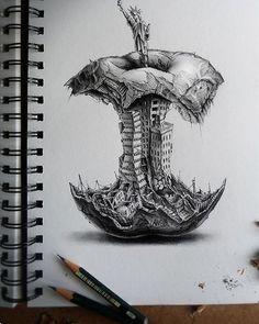 Big bite pencil 300X680 via /r/Art...