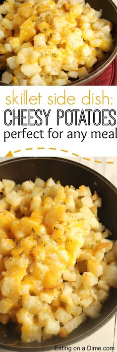 How to Fry Potatoes. try this Easy #Skillet #Potatoes that is smothered in cheese. It tastes amazing and the kids love it! A great side for #Thanksgiving!