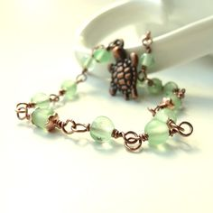 Green Beaded Anklet Copper Turtle Charm by ReneeBrownsDesigns, $16.00
