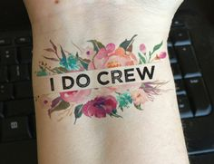 15 Bachelorette Party Temporary Tattoos- I DO CREW - watercolor flowers, floral tattoo, wedding favors, bridal party gifts